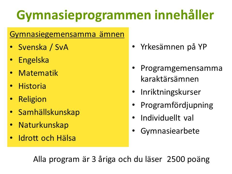 Gymnasieprogrammen innehåller Gymnasiegemensamma ämnen Svenska / SvA Engelska Matematik Historia Religion Samhällskunskap Naturkunskap Idrott och Hälsa Yrkesämnen på YP Programgemensamma karaktärsämnen Inriktningskurser Programfördjupning Individuellt val Gymnasiearbete Alla program är 3 åriga och du läser 2500 poäng