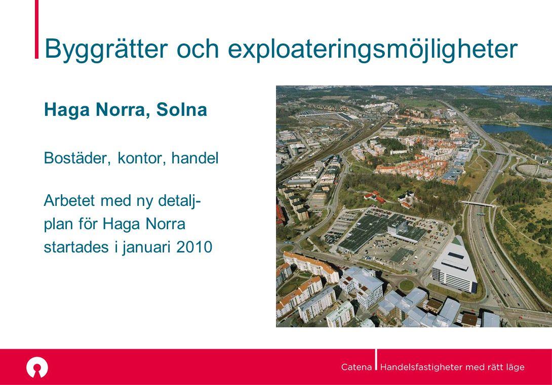 Haga Norra, Solna Bostäder, kontor, handel Arbetet med ny detalj- plan för Haga Norra startades i januari 2010 Byggrätter och exploateringsmöjligheter