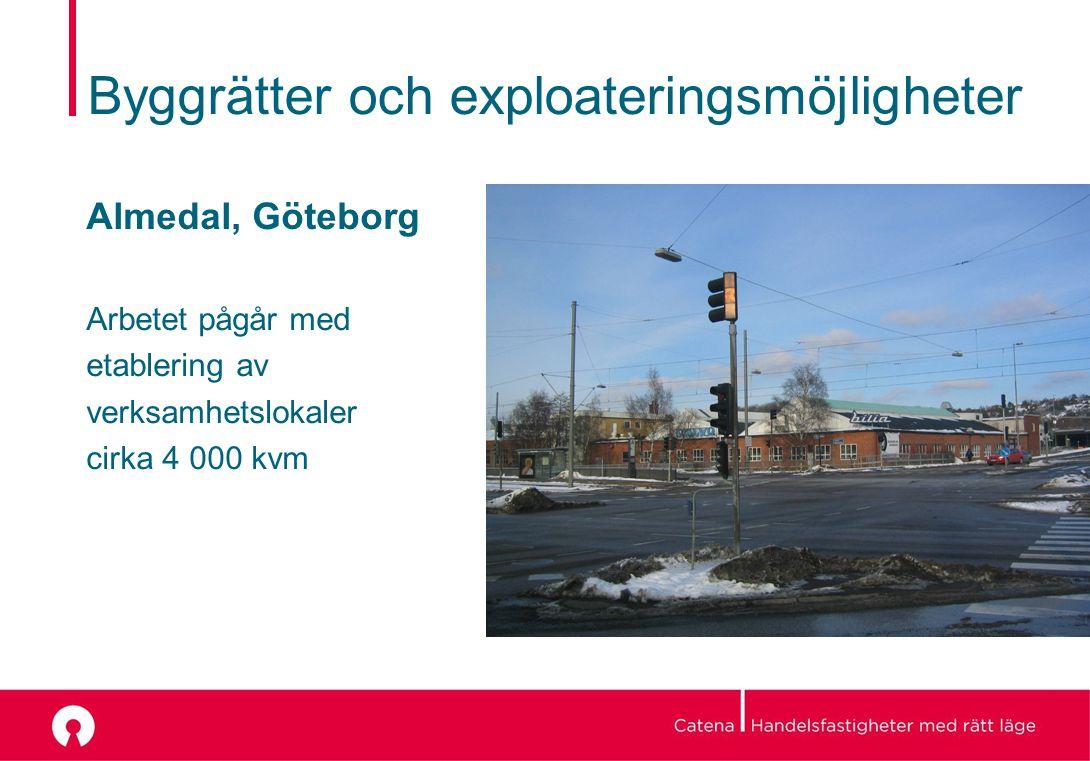 Byggrätter och exploateringsmöjligheter Almedal, Göteborg Arbetet pågår med etablering av verksamhetslokaler cirka 4 000 kvm