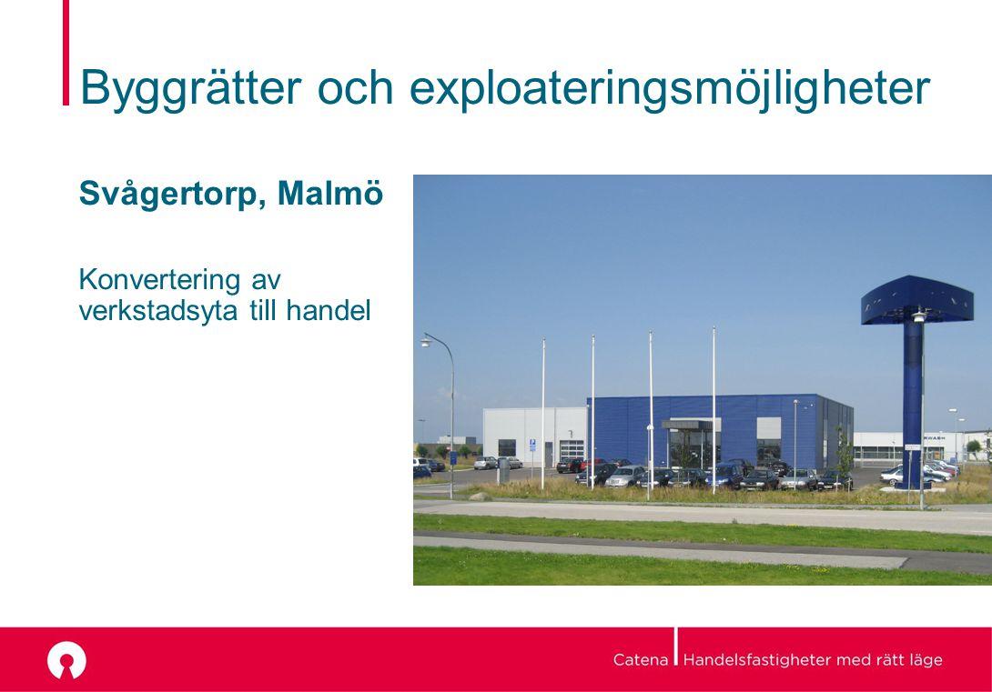 Byggrätter och exploateringsmöjligheter Svågertorp, Malmö Konvertering av verkstadsyta till handel