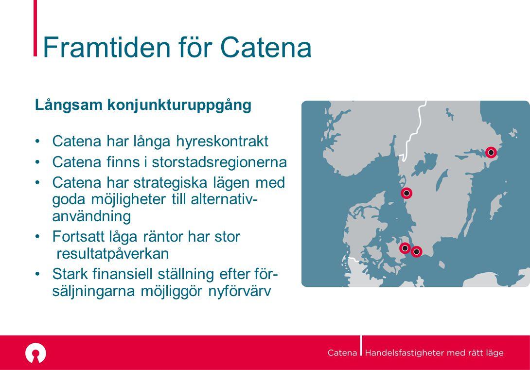 Framtiden för Catena Långsam konjunkturuppgång Catena har långa hyreskontrakt Catena finns i storstadsregionerna Catena har strategiska lägen med goda möjligheter till alternativ- användning Fortsatt låga räntor har stor resultatpåverkan Stark finansiell ställning efter för- säljningarna möjliggör nyförvärv