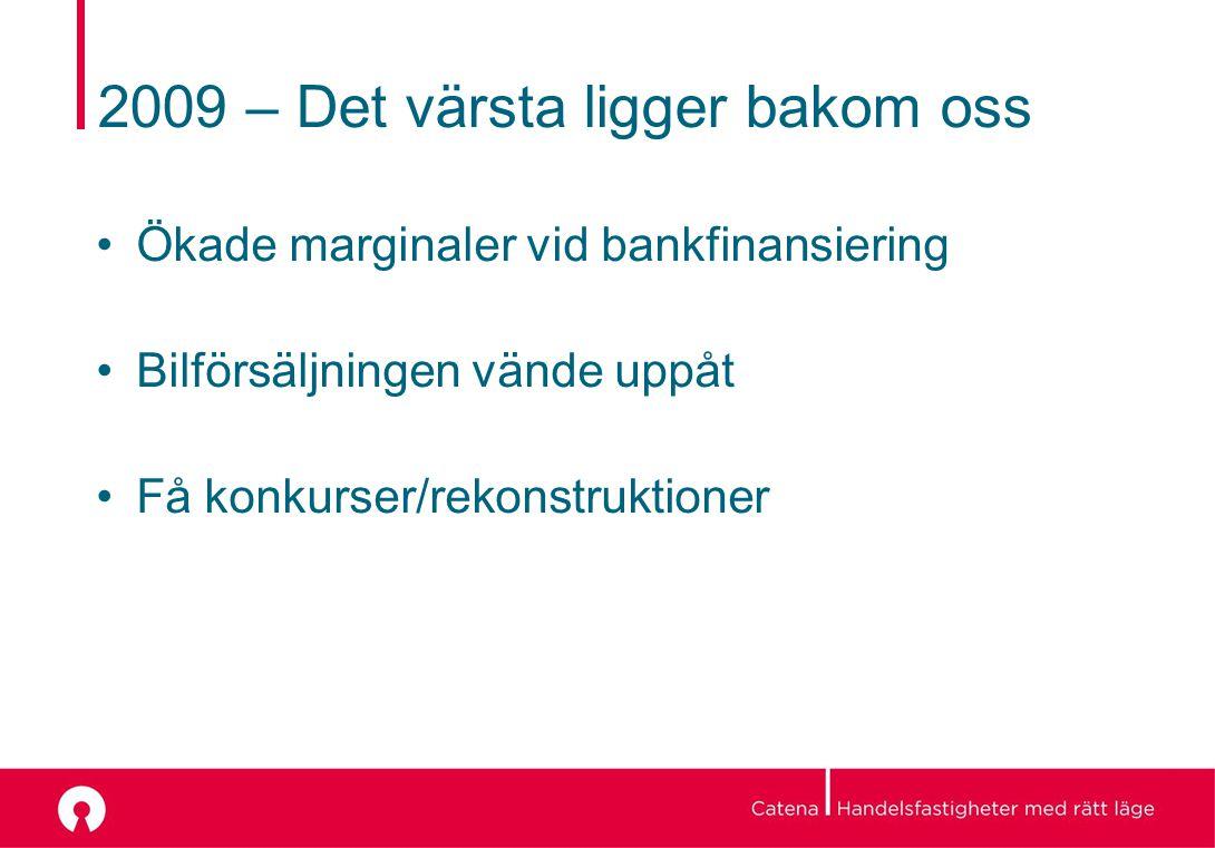 2009 – Det värsta ligger bakom oss Ökade marginaler vid bankfinansiering Bilförsäljningen vände uppåt Få konkurser/rekonstruktioner