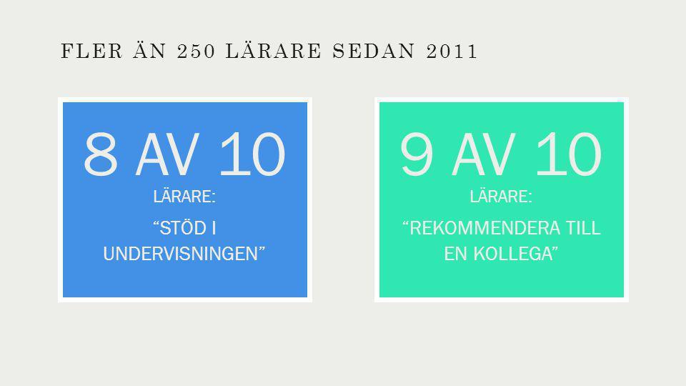 FLER ÄN 250 LÄRARE SEDAN 2011 9 AV 10 LÄRARE: REKOMMENDERA TILL EN KOLLEGA 8 AV 10 LÄRARE: STÖD I UNDERVISNINGEN