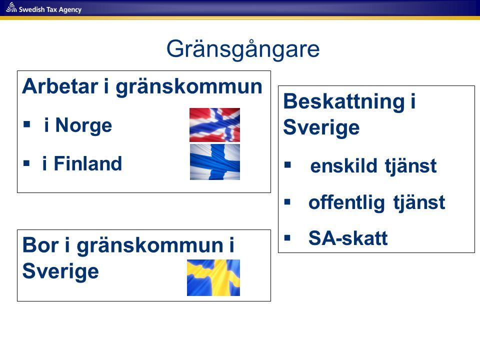 Arbetar i gränskommun  i Norge  i Finland Gränsgångare Bor i gränskommun i Sverige Beskattning i Sverige  enskild tjänst  offentlig tjänst  SA-sk