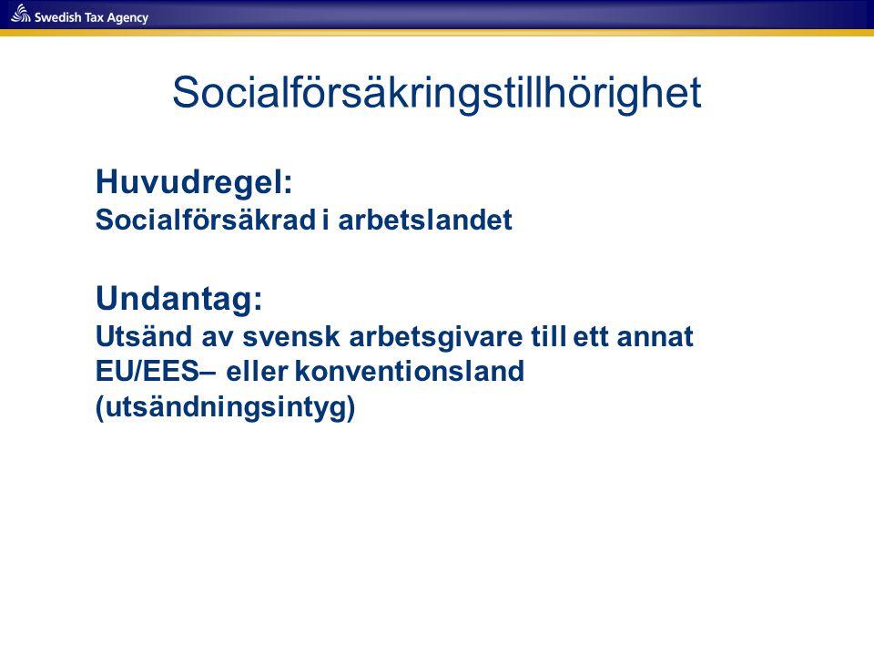 Socialförsäkringstillhörighet Huvudregel: Socialförsäkrad i arbetslandet Undantag: Utsänd av svensk arbetsgivare till ett annat EU/EES– eller konventi