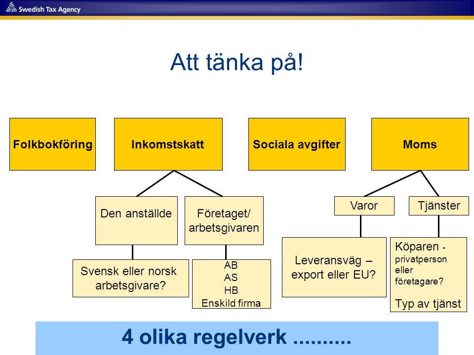 Att tänka på! 4 olika regelverk.......... FolkbokföringInkomstskatt Den anställdeFöretaget/ arbetsgivaren Sociala avgifterMoms VarorTjänster Köparen -