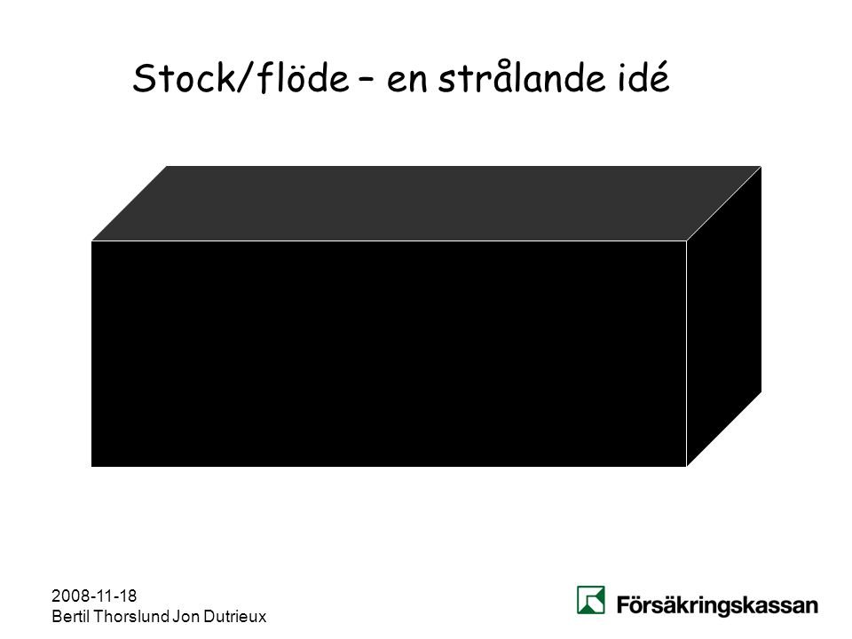 2008-11-18 Bertil Thorslund Jon Dutrieux Stock/flöde – en strålande idé Varje enskilt fall följs från en dag till nästa. Kvarståendesannolikheterna be
