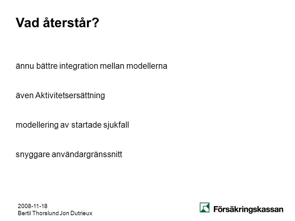 2008-11-18 Bertil Thorslund Jon Dutrieux Vad återstår? även Aktivitetsersättning modellering av startade sjukfall ännu bättre integration mellan model