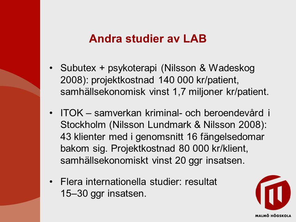 Andra studier av LAB Subutex + psykoterapi (Nilsson & Wadeskog 2008): projektkostnad 140 000 kr/patient, samhällsekonomisk vinst 1,7 miljoner kr/patie
