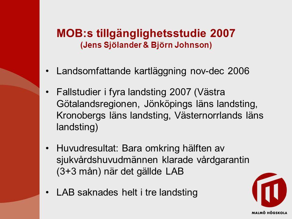 MOB:s tillgänglighetsstudie 2007 (Jens Sjölander & Björn Johnson) Landsomfattande kartläggning nov-dec 2006 Fallstudier i fyra landsting 2007 (Västra