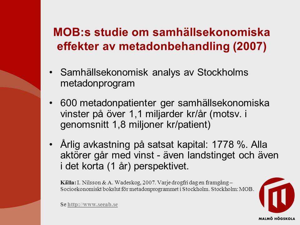 MOB:s studie om samhällsekonomiska effekter av metadonbehandling (2007) Samhällsekonomisk analys av Stockholms metadonprogram 600 metadonpatienter ger