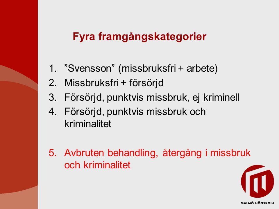 """Fyra framgångskategorier 1.""""Svensson"""" (missbruksfri + arbete) 2.Missbruksfri + försörjd 3.Försörjd, punktvis missbruk, ej kriminell 4.Försörjd, punktv"""