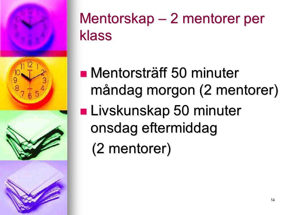 14 Mentorskap – 2 mentorer per klass Mentorsträff 50 minuter måndag morgon (2 mentorer) Mentorsträff 50 minuter måndag morgon (2 mentorer) Livskunskap 50 minuter onsdag eftermiddag Livskunskap 50 minuter onsdag eftermiddag (2 mentorer) (2 mentorer)