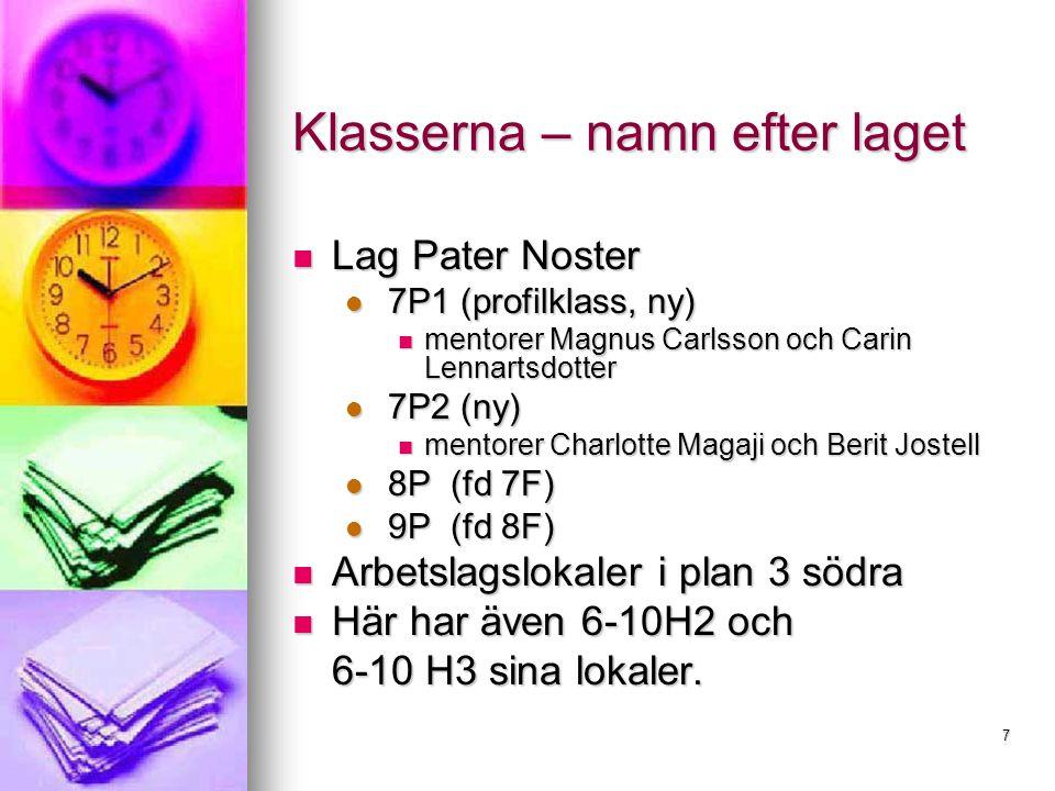 7 Klasserna – namn efter laget Lag Pater Noster Lag Pater Noster 7P1 (profilklass, ny) 7P1 (profilklass, ny) mentorer Magnus Carlsson och Carin Lennartsdotter mentorer Magnus Carlsson och Carin Lennartsdotter 7P2 (ny) 7P2 (ny) mentorer Charlotte Magaji och Berit Jostell mentorer Charlotte Magaji och Berit Jostell 8P (fd 7F) 8P (fd 7F) 9P (fd 8F) 9P (fd 8F) Arbetslagslokaler i plan 3 södra Arbetslagslokaler i plan 3 södra Här har även 6-10H2 och Här har även 6-10H2 och 6-10 H3 sina lokaler.