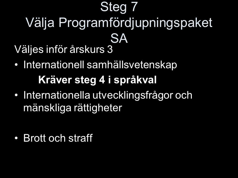 Steg 7 Välja Programfördjupningspaket SA Väljes inför årskurs 3 Internationell samhällsvetenskap Kräver steg 4 i språkval Internationella utvecklingsf