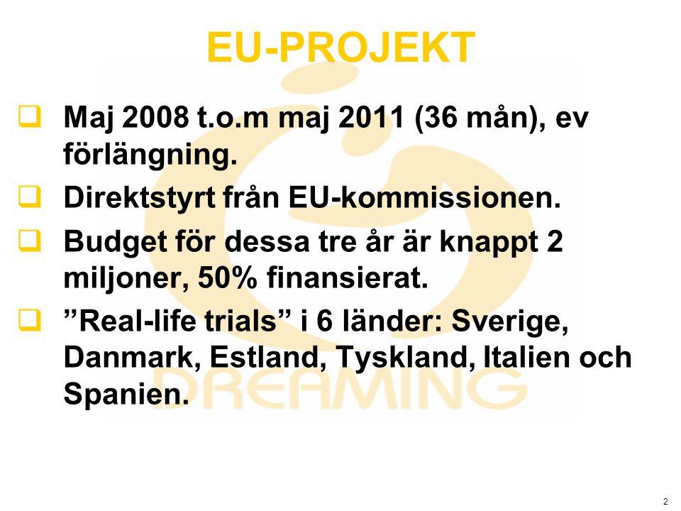 2  Maj 2008 t.o.m maj 2011 (36 mån), ev förlängning.  Direktstyrt från EU-kommissionen.  Budget för dessa tre år är knappt 2 miljoner, 50% finansie