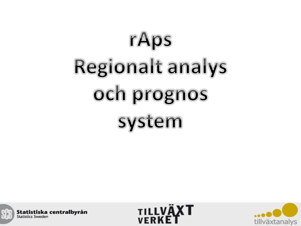 Bakgrund Under 1990-talet växte det fram konkreta idéer och samlade behov om ett gemensamt system för regionala analyser och prognoser som var konsistenta på nationell nivå 1995 utlystes ett anbudsförfarande som SCB (myndighet),WSP (konsult) och SINTEF (konsult) vann, som sedan tillsammans utvecklade rAps och fortfarande svarar för teknisk utveckling och drift av systemet Uppdraget koordinerades av Verket för Näringslivsutveckling (numera Tillväxtverket), som även ägde systemet fram till år 2009 då Regeringen beslutade att Myndigheten för Tillväxtanalys skulle ta över ägandeskapet Första versionen av rAps lanserades år 2000.