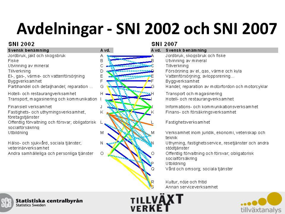 Avdelningar - SNI 2002 och SNI 2007