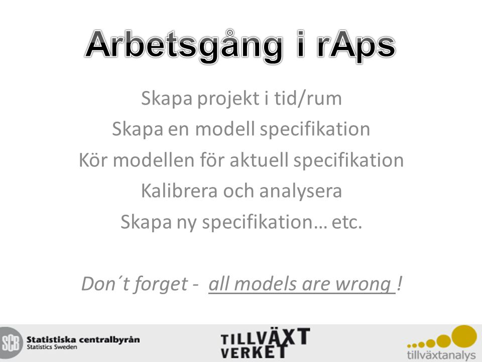 Skapa projekt i tid/rum Skapa en modell specifikation Kör modellen för aktuell specifikation Kalibrera och analysera Skapa ny specifikation… etc. Don´