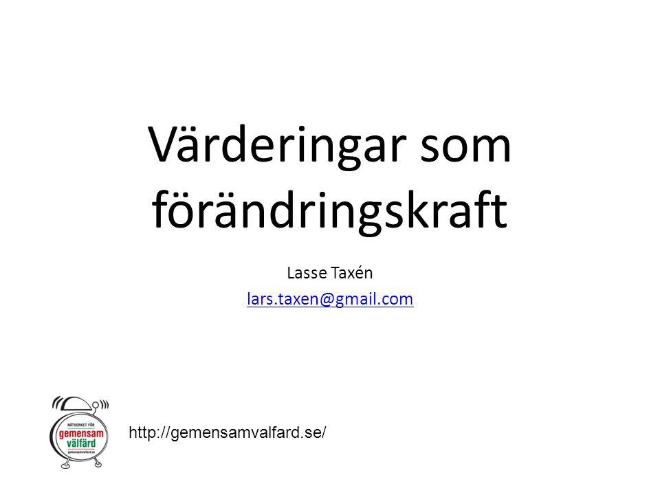 Värderingar som förändringskraft Lasse Taxén lars.taxen@gmail.com http://gemensamvalfard.se/