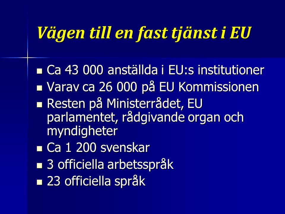 Vägen till en fast tjänst i EU Ca 43 000 anställda i EU:s institutioner Ca 43 000 anställda i EU:s institutioner Varav ca 26 000 på EU Kommissionen Varav ca 26 000 på EU Kommissionen Resten på Ministerrådet, EU parlamentet, rådgivande organ och myndigheter Resten på Ministerrådet, EU parlamentet, rådgivande organ och myndigheter Ca 1 200 svenskar Ca 1 200 svenskar 3 officiella arbetsspråk 3 officiella arbetsspråk 23 officiella språk 23 officiella språk
