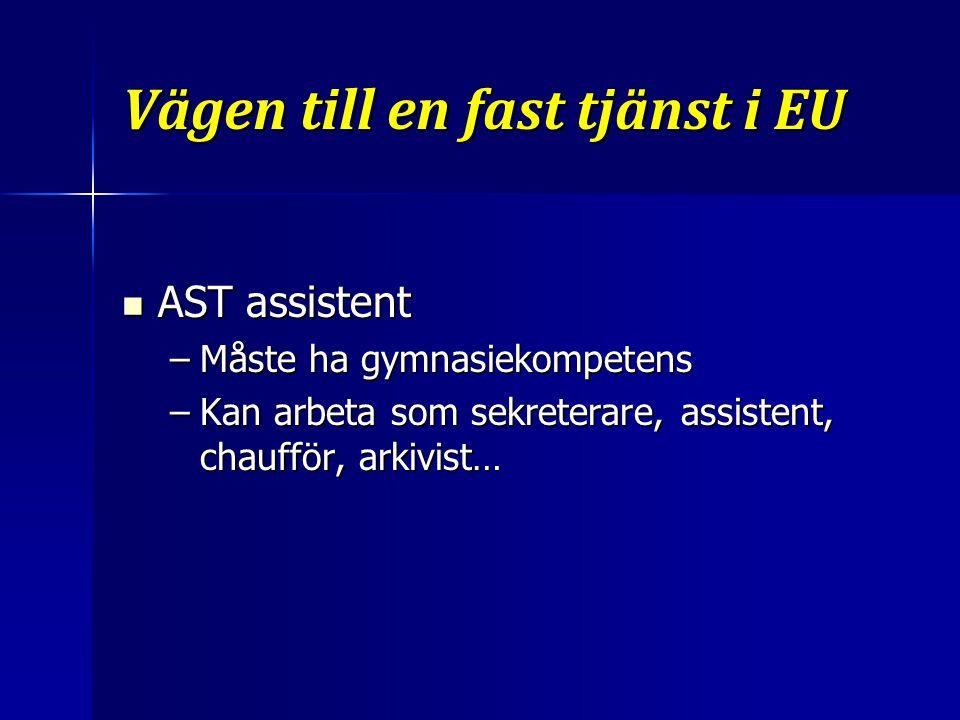 Vägen till en fast tjänst i EU AST assistent AST assistent –Måste ha gymnasiekompetens –Kan arbeta som sekreterare, assistent, chaufför, arkivist…