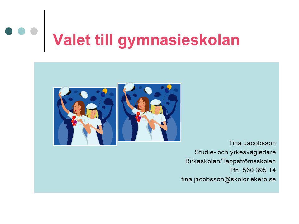 Valet till gymnasieskolan Tina Jacobsson Studie- och yrkesvägledare Birkaskolan/Tappströmsskolan Tfn: 560 395 14 tina.jacobsson@skolor.ekero.se