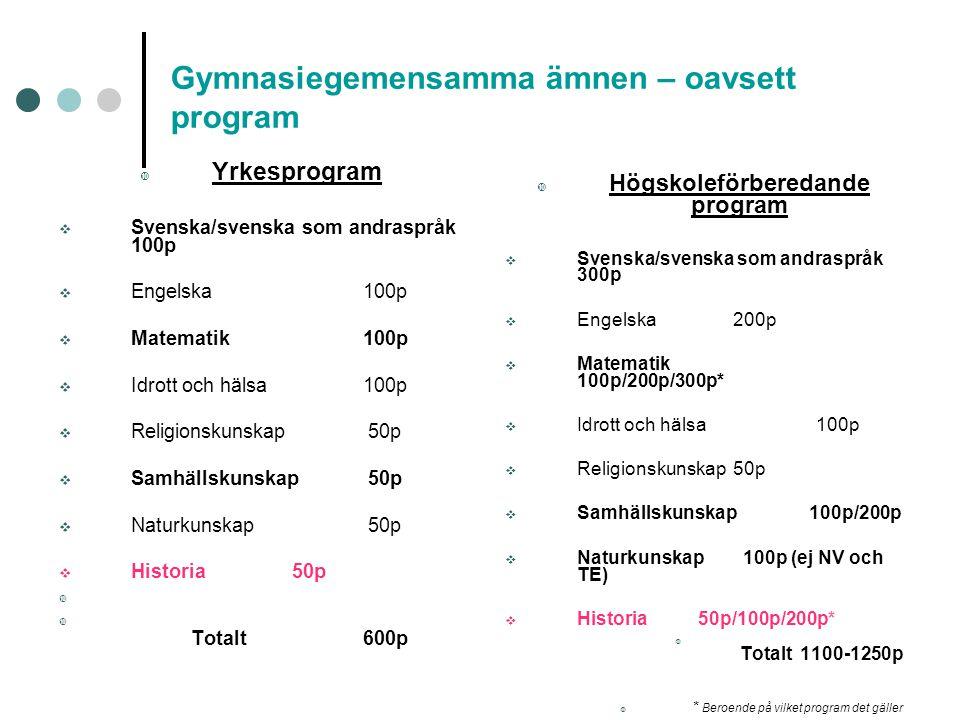 Gymnasiegemensamma ämnen – oavsett program  Yrkesprogram  Svenska/svenska som andraspråk 100p  Engelska100p  Matematik100p  Idrott och hälsa100p
