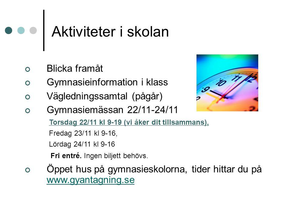 Aktiviteter i skolan Blicka framåt Gymnasieinformation i klass Vägledningssamtal (pågår) Gymnasiemässan 22/11-24/11 Torsdag 22/11 kl 9-19 (vi åker dit