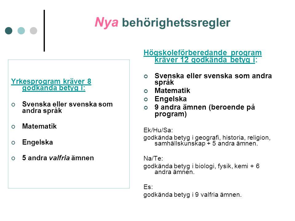 Nya behörighetssregler Yrkesprogram kräver 8 godkända betyg i: Svenska eller svenska som andra språk Matematik Engelska 5 andra valfria ämnen Högskole
