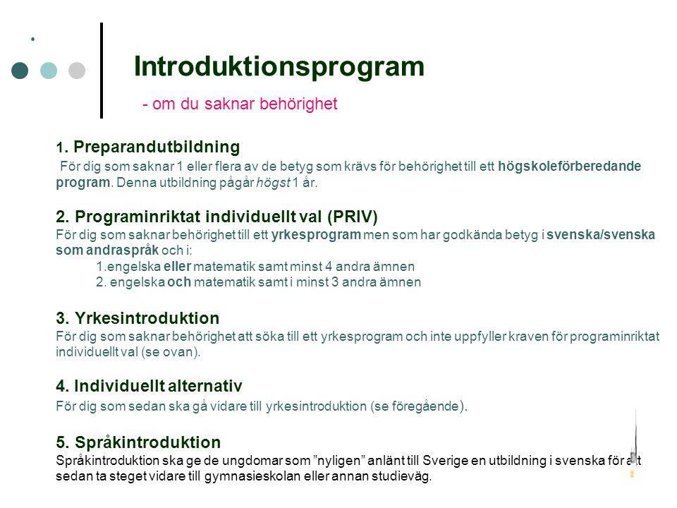 Introduktionsprogram - om du saknar behörighet 1. Preparandutbildning För dig som saknar 1 eller flera av de betyg som krävs för behörighet till ett h