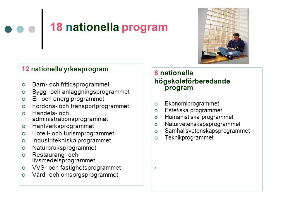 18 nationella program 12 nationella yrkesprogram Barn- och fritidsprogrammet Bygg- och anläggningsprogrammet El- och energiprogrammet Fordons- och transportprogrammet Handels- och administrationsprogrammet Hantverksprogrammet Hotell- och turismprogrammet Industritekniska programmet Naturbruksprogrammet Restaurang- och livsmedelsprogrammet VVS- och fastighetsprogrammet Vård- och omsorgsprogrammet 6 nationella högskoleförberedande program Ekonomiprogrammet Estetiska programmet Humanistiska programmet Naturvetenskapsprogrammet Samhällsvetenskapsprogrammet Teknikprogrammet 