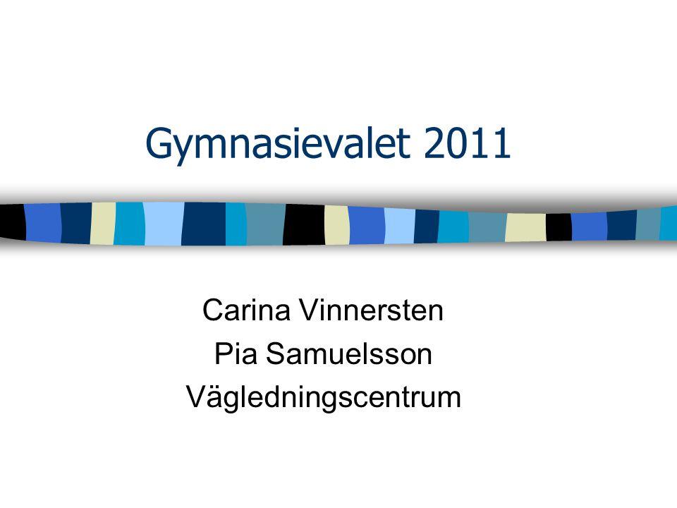 Gymnasievalet 2011 Carina Vinnersten Pia Samuelsson Vägledningscentrum