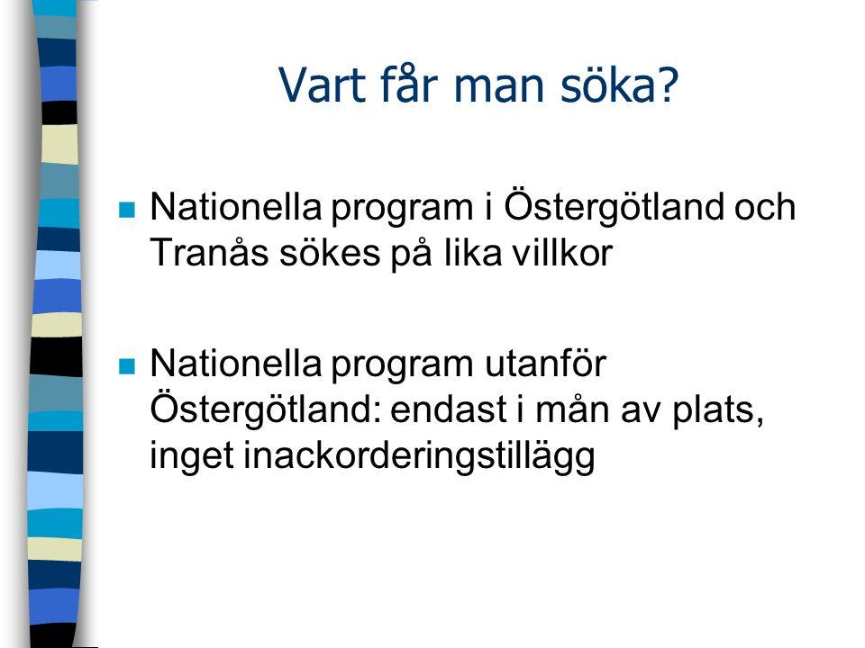 Vart får man söka? n Nationella program i Östergötland och Tranås sökes på lika villkor n Nationella program utanför Östergötland: endast i mån av pla