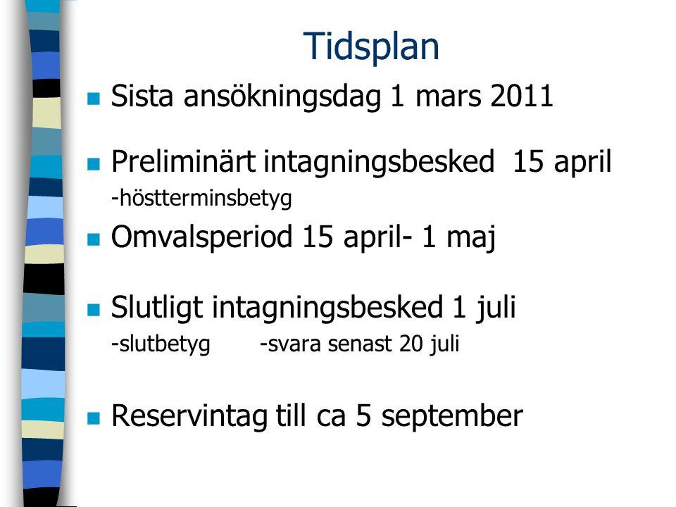 Tidsplan n Sista ansökningsdag 1 mars 2011 n Preliminärt intagningsbesked 15 april -höstterminsbetyg n Omvalsperiod 15 april- 1 maj n Slutligt intagni