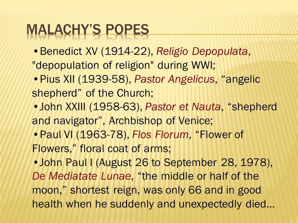 Benedict XV (1914-22), Religio Depopulata,