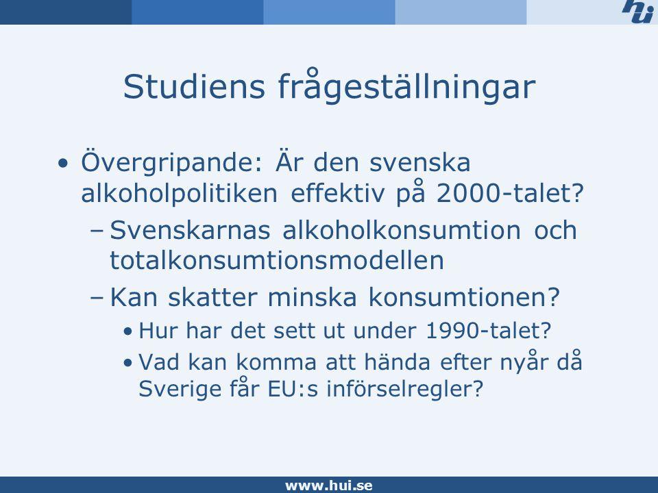 www.hui.se Studiens frågeställningar Övergripande: Är den svenska alkoholpolitiken effektiv på 2000-talet.