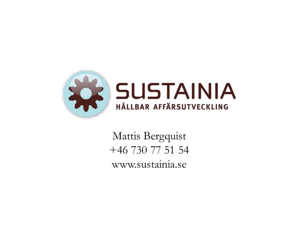 Mattis Bergquist +46 730 77 51 54 www.sustainia.se