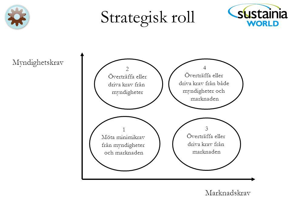 Strategisk roll Myndighetskrav Marknadskrav 1 Möta minimikrav från myndigheter och marknaden 2 Överträffa eller driva krav från myndigheter 4 Överträf