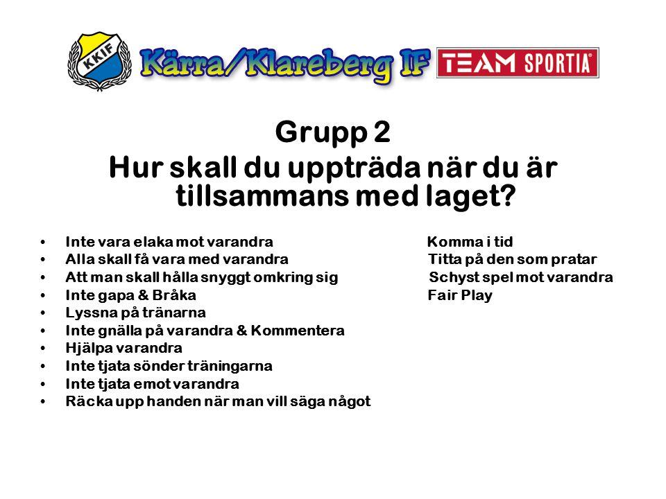 Grupp 2 Hur skall du uppträda när du är tillsammans med laget? Inte vara elaka mot varandra Komma i tid Alla skall få vara med varandra Titta på den s