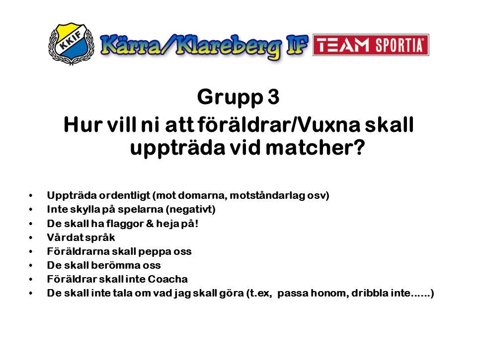 Grupp 3 Hur vill ni att föräldrar/Vuxna skall uppträda vid matcher? Uppträda ordentligt (mot domarna, motståndarlag osv) Inte skylla på spelarna (nega