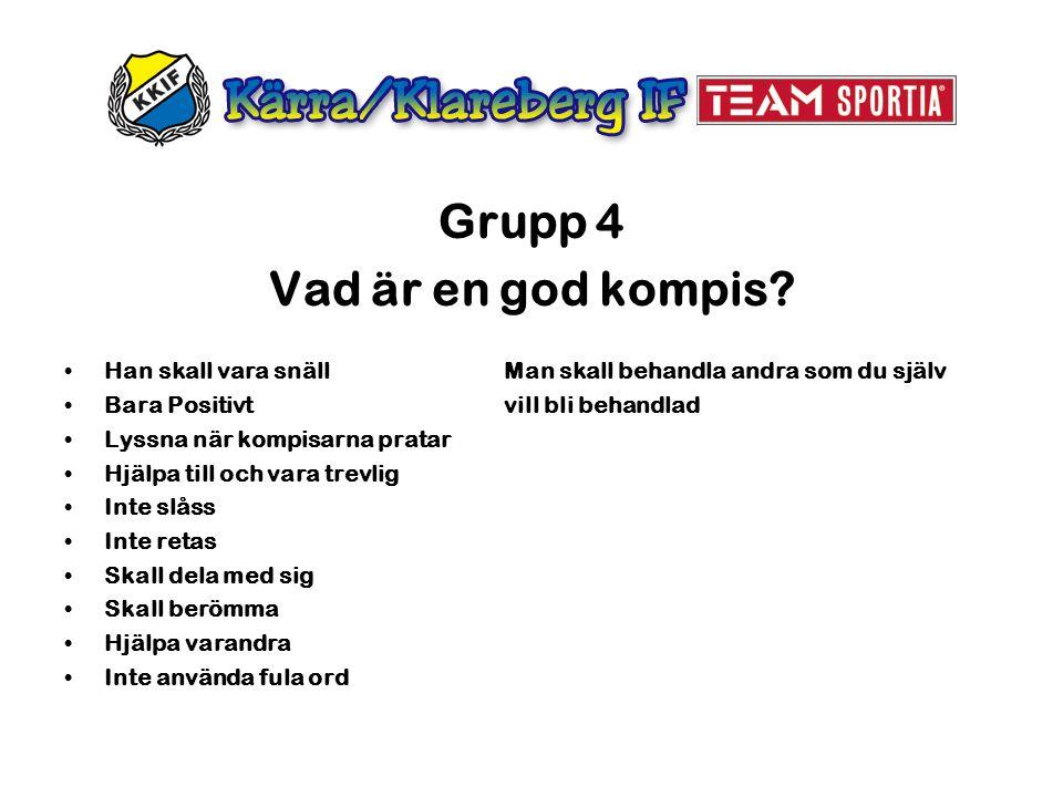 Grupp 4 Vad är en god kompis? Han skall vara snäll Man skall behandla andra som du själv Bara Positivt vill bli behandlad Lyssna när kompisarna pratar