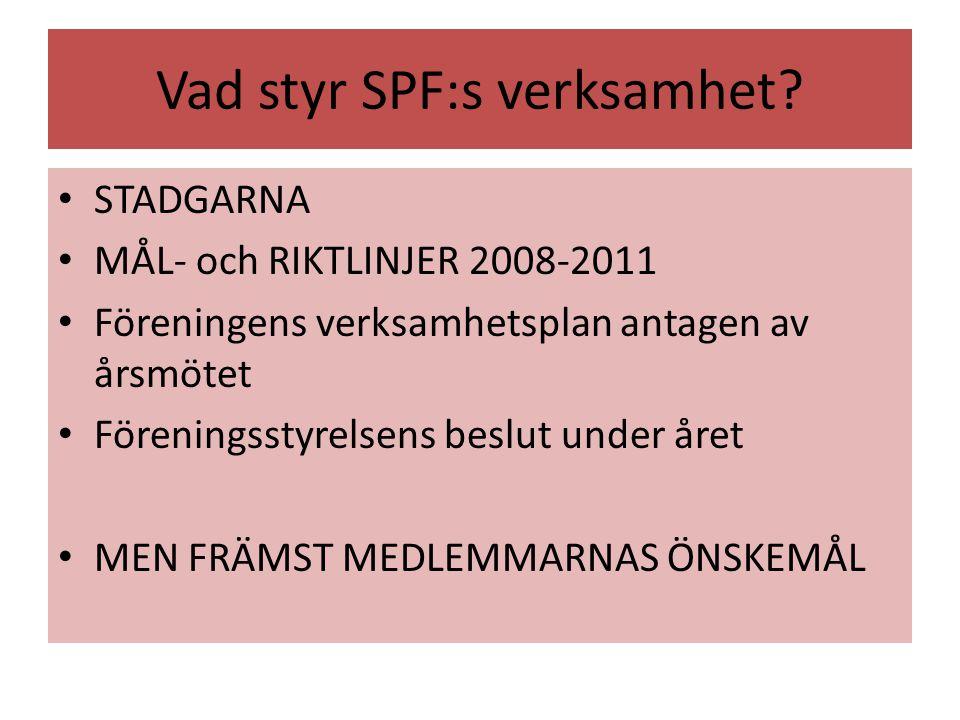 Vad styr SPF:s verksamhet? STADGARNA MÅL- och RIKTLINJER 2008-2011 Föreningens verksamhetsplan antagen av årsmötet Föreningsstyrelsens beslut under år