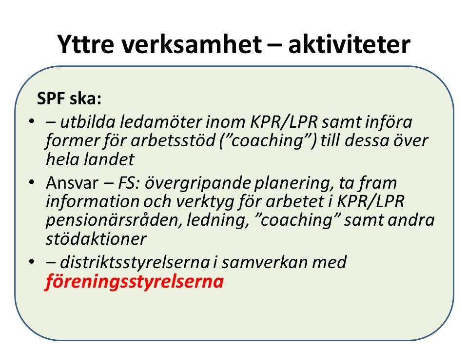 """Yttre verksamhet – aktiviteter SPF ska: – utbilda ledamöter inom KPR/LPR samt införa former för arbetsstöd (""""coaching"""") till dessa över hela landet An"""