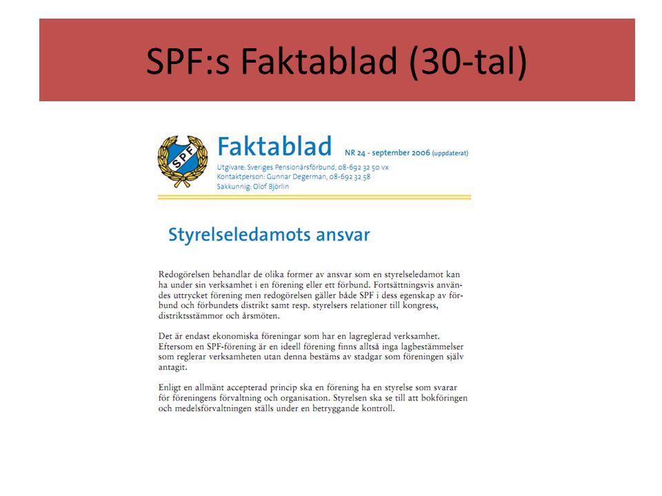 SPF:s Faktablad (30-tal)