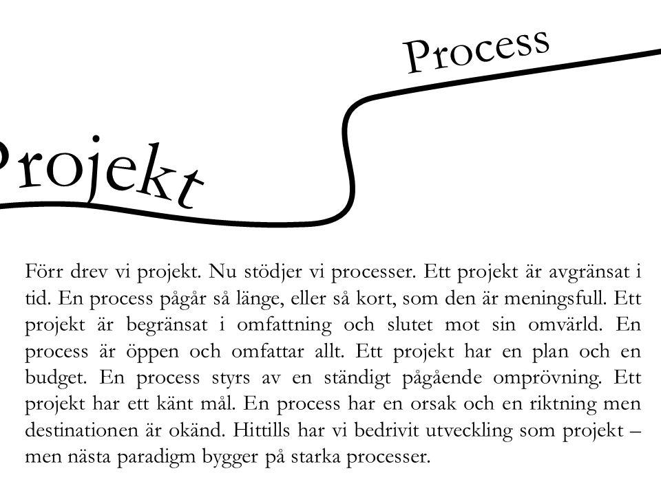Process Förr drev vi projekt. Nu stödjer vi processer. Ett projekt är avgränsat i tid. En process pågår så länge, eller så kort, som den är meningsful