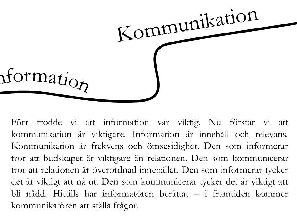 Kommunikation Förr trodde vi att information var viktig. Nu förstår vi att kommunikation är viktigare. Information är innehåll och relevans. Kommunika