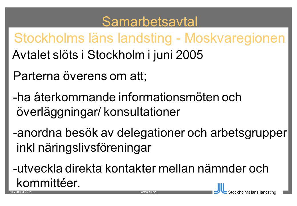 november 2014 Stockholms läns landsting www.sll.se Samarbetsavtal Stockholms läns landsting - Moskvaregionen Avtalet slöts i Stockholm i juni 2005 Parterna överens om att; -ha återkommande informationsmöten och överläggningar/ konsultationer -anordna besök av delegationer och arbetsgrupper inkl näringslivsföreningar -utveckla direkta kontakter mellan nämnder och kommittéer.