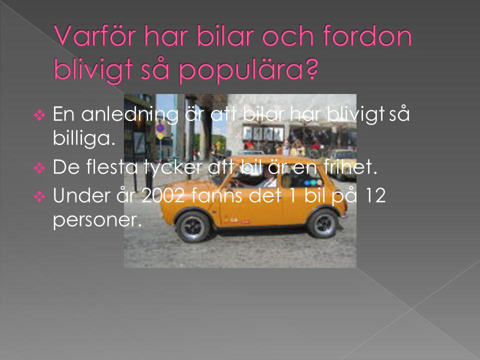  En anledning är att bilar har blivigt så billiga.  De flesta tycker att bil är en frihet.  Under år 2002 fanns det 1 bil på 12 personer.