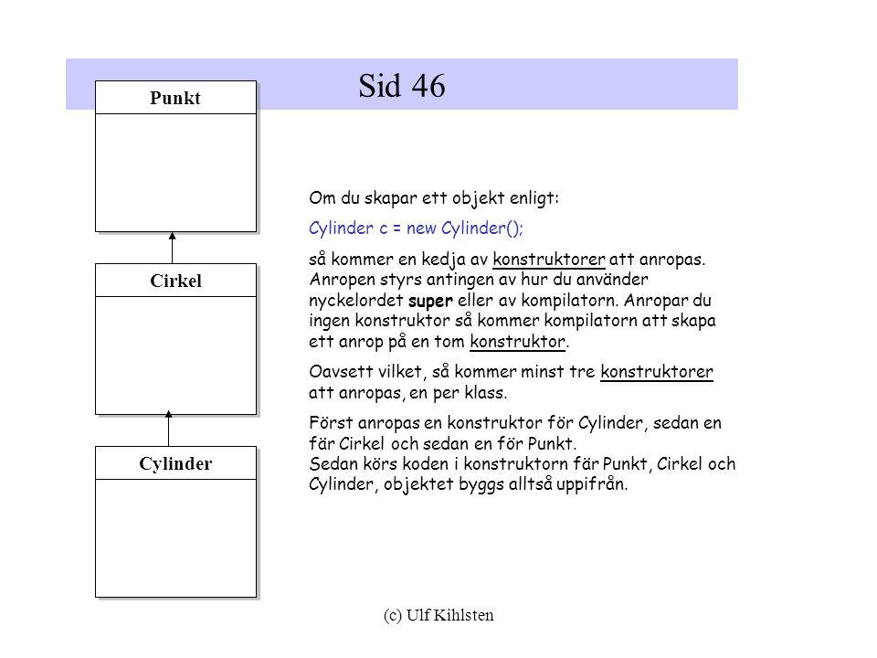 (c) Ulf Kihlsten Sid 46 Punkt CirkelCylinder Om du skapar ett objekt enligt: Cylinder c = new Cylinder(); så kommer en kedja av konstruktorer att anropas.